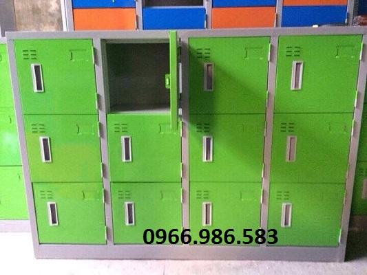 Tủ sắt mầm non 12 ngăn, màu xanh