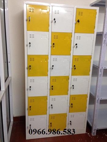Kết quả hình ảnh cho Tủ locker sắt 18 ngăn màu vàng